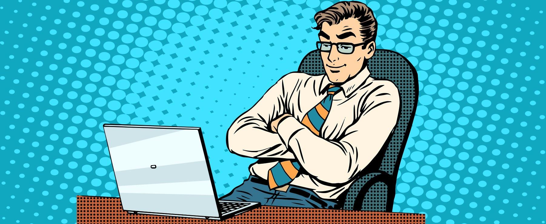 Mann sitzt am Laptop am Schreibtisch mit Brille im retro Comic STil