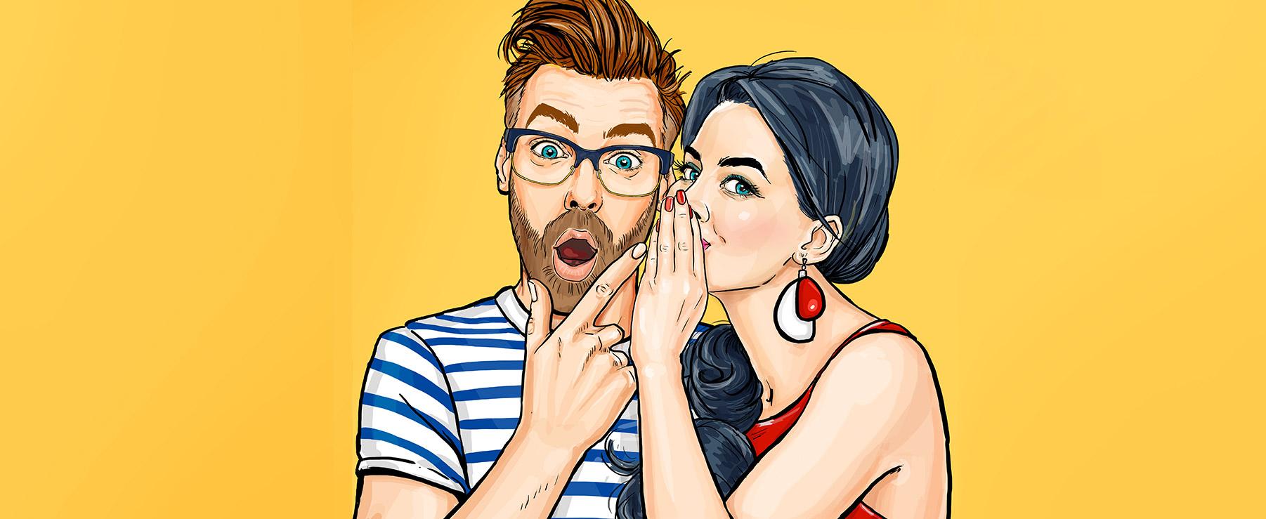 Frau flüstert Mann mit brille im Retro Stil ins Ohr, Mann schaut begeistert