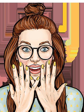Frau mit braunen Haaren, schwarzer Brille und gelben Fingernägels guckt begeistert im Retro Comic Stil