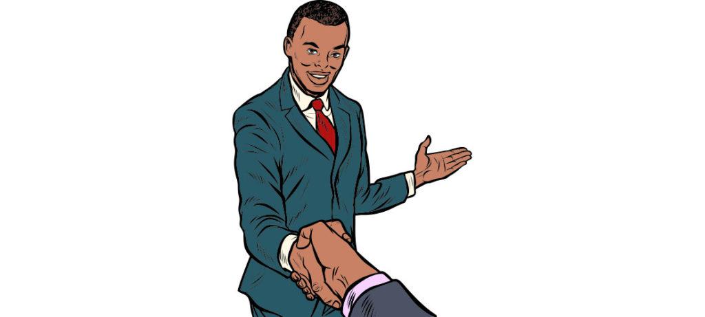 Dunkelhäutiger Mann im Comic Retro Stil schüttelt zur Begrüßung eine Hand
