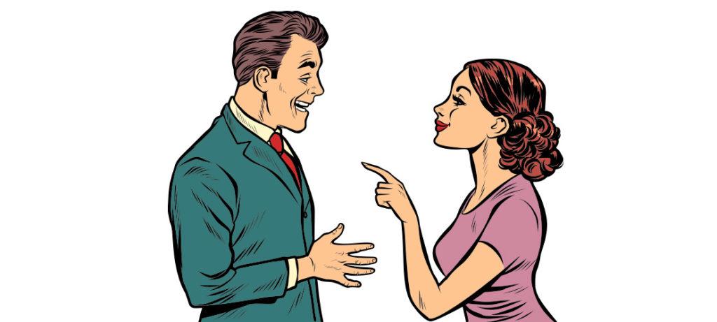 Mann und Frau im Retro Comic Stil im einem Beratungsgespräch