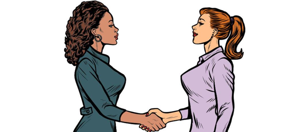 Zwei Frauen im Comic Retro Stil schütteleln sich zur Begrüßung die Hand