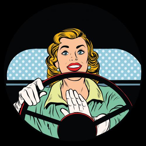 blonde Frau hinterm Lenkrad drückt die Hupe im retro Comic Stil